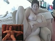 Mature exhibitionist couple toying