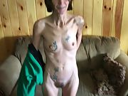 Thin tattooed granny wants her fuckbox seen all over the world