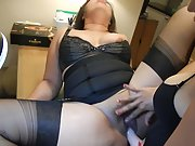 My wife fucking her plumper building maid