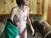 Skinny tattooed wife with fur covered pussy stripping