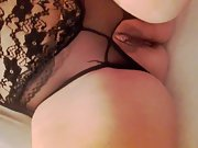 Sumptuous wife in fuck me lingerie lubing herself up